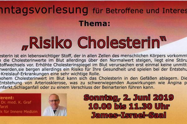 Sonntagsvorlesung am 02. Juni 2019 – Risiko Cholesterin