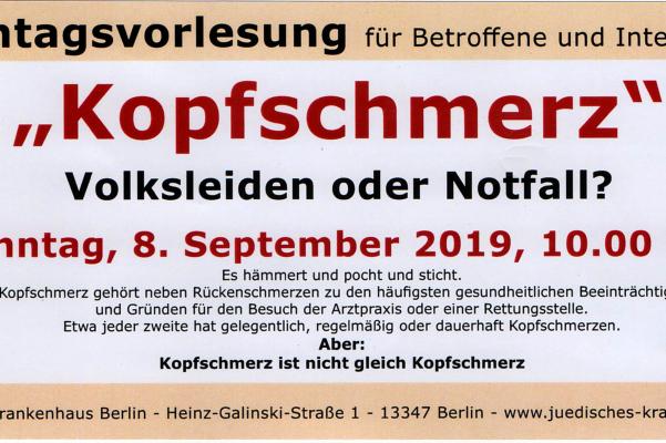 Sonntagsvorlesung am 08. September 2019 – Kopfschmerz