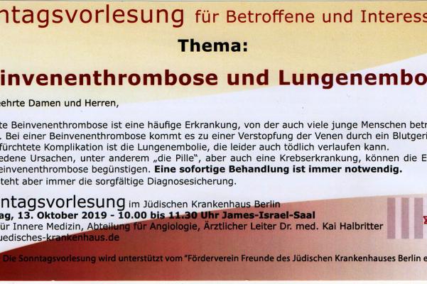 Sonntagsvorlesung am 13. Oktober 2019 – Beinvenenthrombose und Lungenembolie