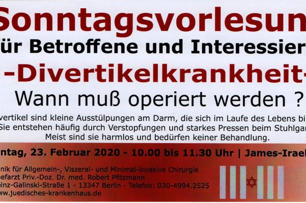 Sonntagsvorlesung am 23. Februar 2020  –  Divertikelkrankheit